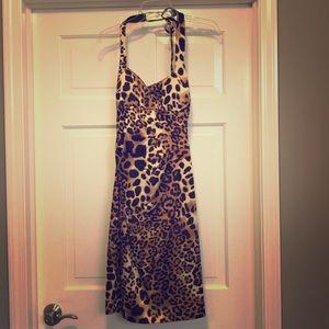 Cache leopard print satin sheath cocktail dress